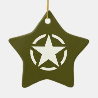 Star Stencil Vintage on Khaki Green Ceramic Ornament