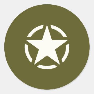 Star Stencil Vintage on Khaki Green Classic Round Sticker
