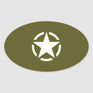 Star Stencil Vintage on Khaki Green Oval Sticker