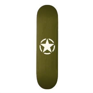 Star Stencil Vintage on Khaki Green Skateboard