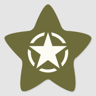 Star Stencil Vintage on Khaki Green Star Sticker