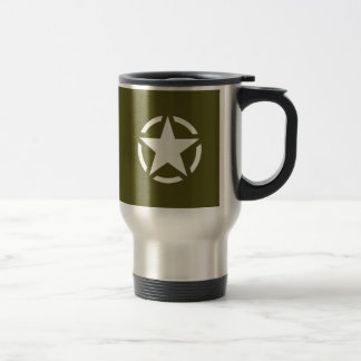 Star Stencil Vintage on Khaki Green Travel Mug