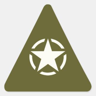 Star Stencil Vintage on Khaki Green Triangle Sticker