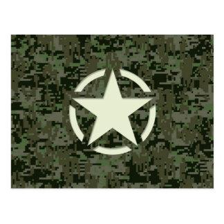 Star Stencil Vintage Symbol Digital Camouflage Postcard