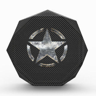 Star Stencil Vintage Tag Carbon Fiber Style Award