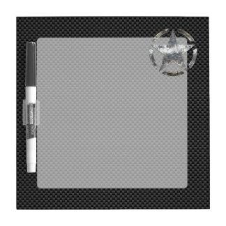 Star Stencil Vintage Tag Carbon Fiber Style Dry Erase Board