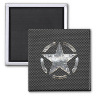 Star Stencil Vintage Tag Carbon Fiber Style Magnet