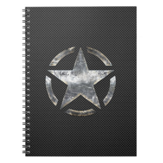 Star Stencil Vintage Tag Carbon Fiber Style Notebook