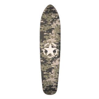 Star Stencil Vintage Tag Digital Khaki Style Skateboard
