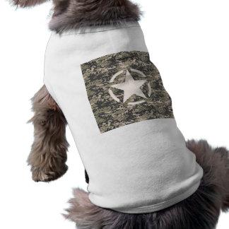 Star Stencil Vintage Tag Digital Khaki Style T-Shirt