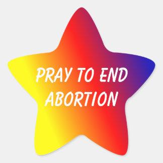 Star sticker pray to end abortion
