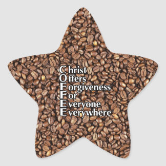 Star Stickers COFFEE beans Christ Offers Forgivene