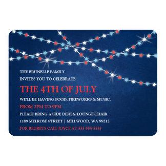Star String Lights 4th of July Invitations