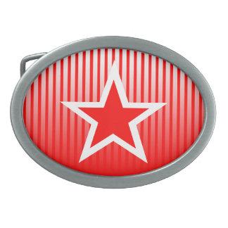Star Stripe Red Belt Buckle