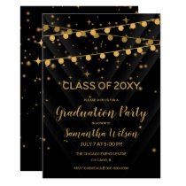 Star Struck Black and Gold Graduation Party Card