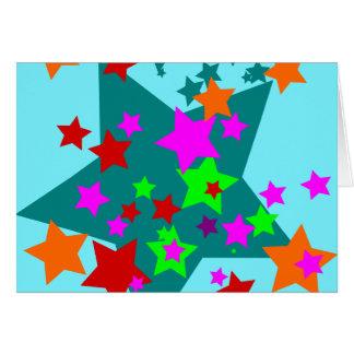 Star Struck Fun Stars Teal Red Pink Lime Orange Card
