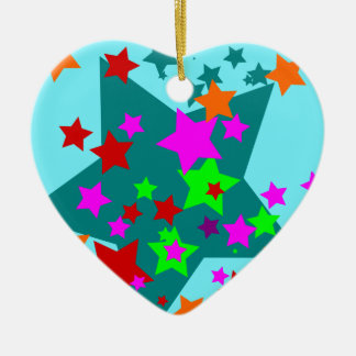 Star Struck Fun Stars Teal Red Pink Lime Orange Ceramic Ornament