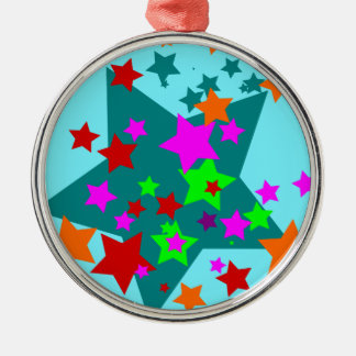 Star Struck Fun Stars Teal Red Pink Lime Orange Metal Ornament