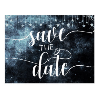 Star Struck Watercolor Sky Wedding Save the Date Postcard