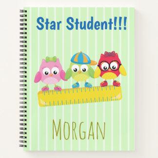 Star Student Cute Owls Notebook