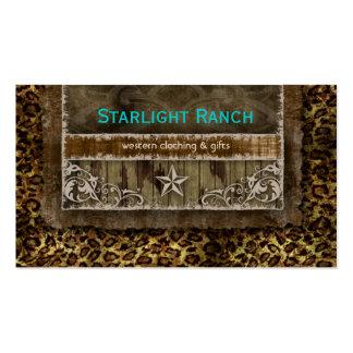 Star Suede Business Card Leopard Blue Brown H