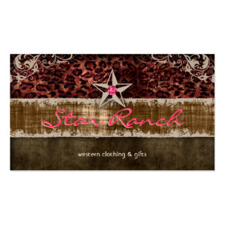 Star Suede Business Card Leopard Brown H