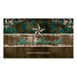 Star Suede Business Card Teal Brown H