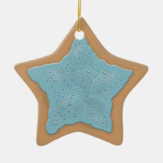 Star Sugar Cookie with Blue Icing Double-Sided Star Ceramic Christmas Ornament