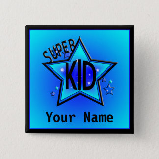 Star Super Kid Custom Name Blue Button