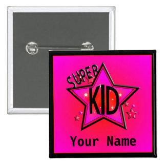 Star Super Kid Custom Pink Name Button