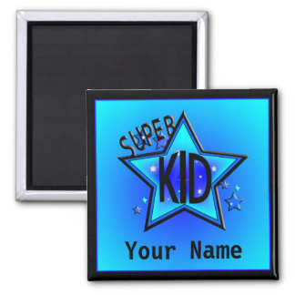 Star Super Kid Name Custom Blue Magnet