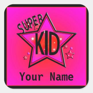 Star  Super Kid Name Pink Custom Stickers