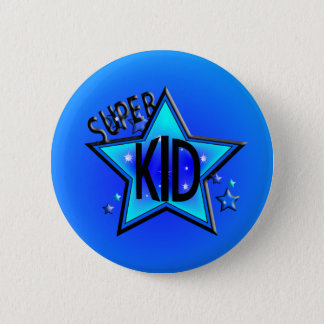 Star Super Kid Round Blue Button