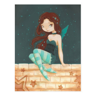 Star- sweet star fairy on a brick wall postcard