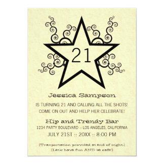 Star Swirls 21st Birthday Party Invitation, Black Card