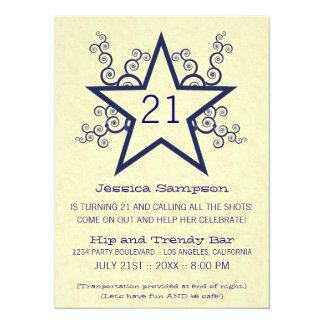 Star Swirls 21st Birthday Party Invitation, Blue Card