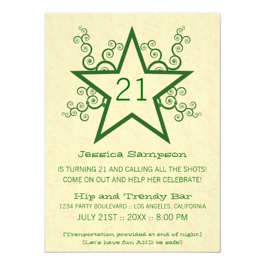 Star Swirls 21st Birthday Party Invitation, Green Card