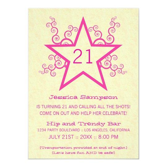 Star Swirls 21st Birthday Party Invitation, Pink Card