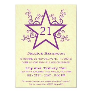 Star Swirls 21st Birthday Party Invitation, Purple Card