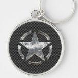 Star Symbol on a Carbon Style Decor Keychain