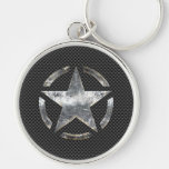 Star Symbol on a Carbon Style Decor Silver-Colored Round Keychain
