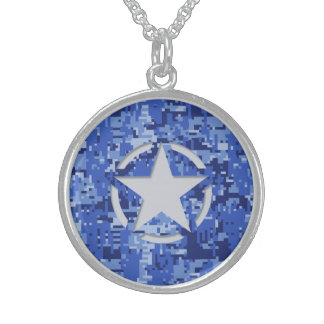 Star Tag Decal Navy Blue Camo Sterling Silver Necklace