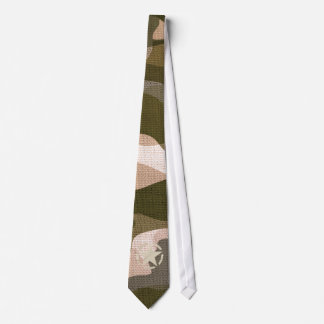 Star Tag on Burlap Camouflage Style Neck Tie