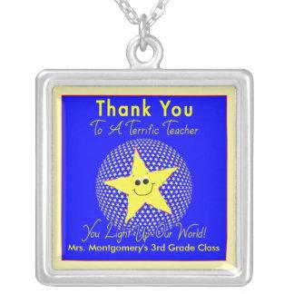 Star Teacher Thank You Square Pendant Necklace