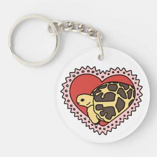 Star Tortoise Valentine's Day Keychain (white)