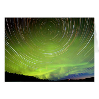 Star Trails and Northern Lights Aurora borealis Card