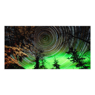 Star Trails and Northern Lights Aurora borealis Picture Card