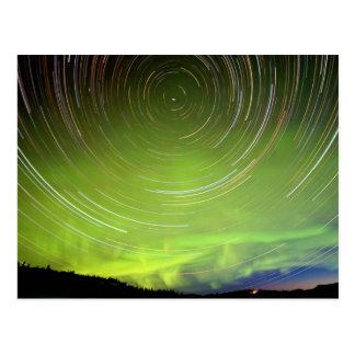 Star Trails and Northern Lights Aurora borealis Postcard