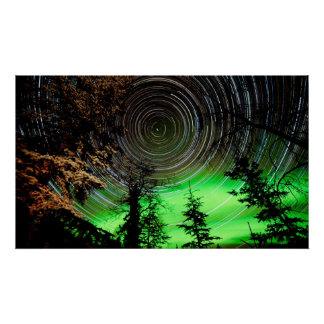 Star Trails and Northern Lights Aurora borealis Poster