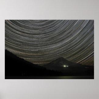 Star Trails in Trillium Lake Portland OR Poster